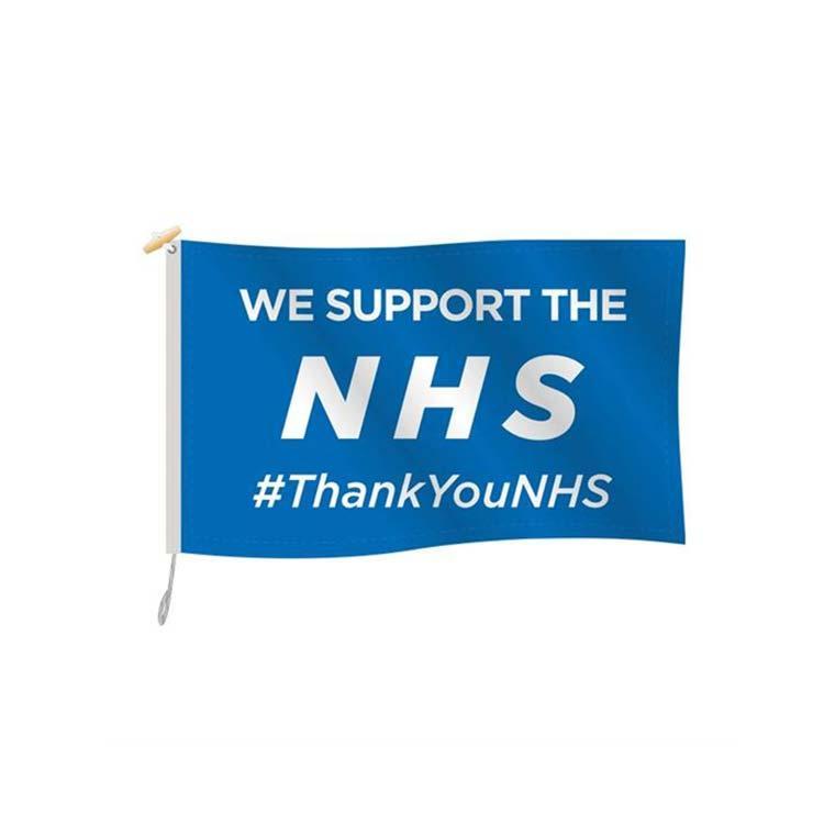 Sosteniamo il NHS grazie Bandiera 3x5ft poliestere di stampa Club Squadra sportiva coperta con 2 Passacavi ottone, trasporto libero