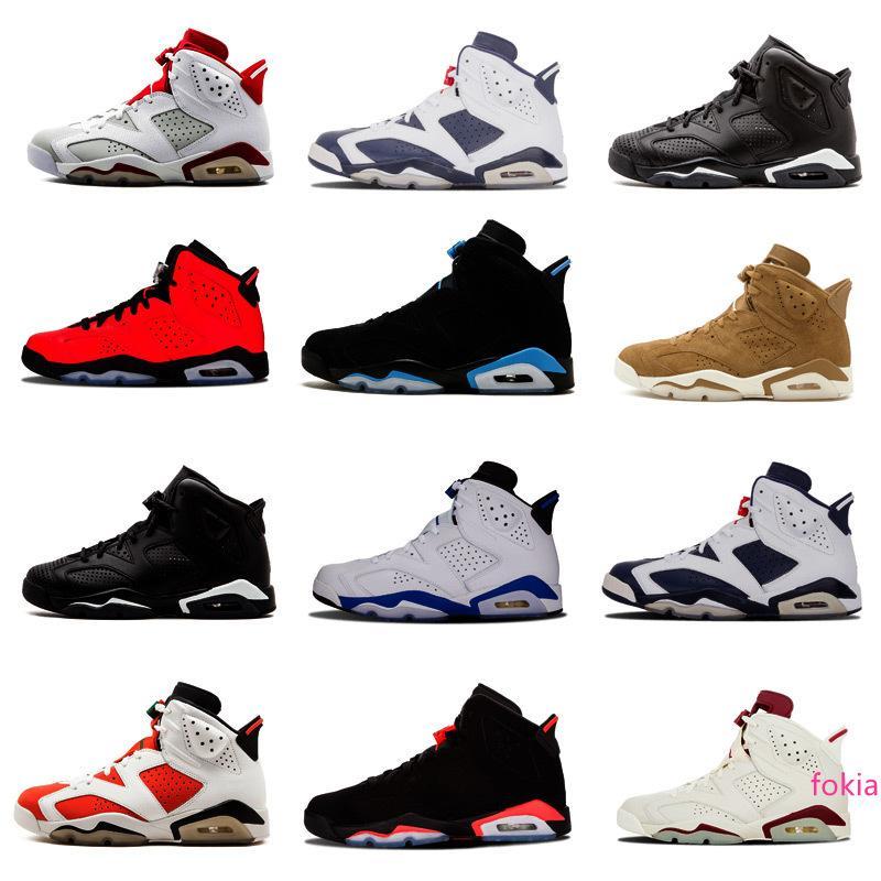 Yüksek kaliteli Ayakkabılar 6s VI mans Basketbol ayakkabıları boğa Carmine Kızılötesi Oreo WhiteInfared Siyah kedi spor mavi Olimpiyat Satış spor ayakkabısı