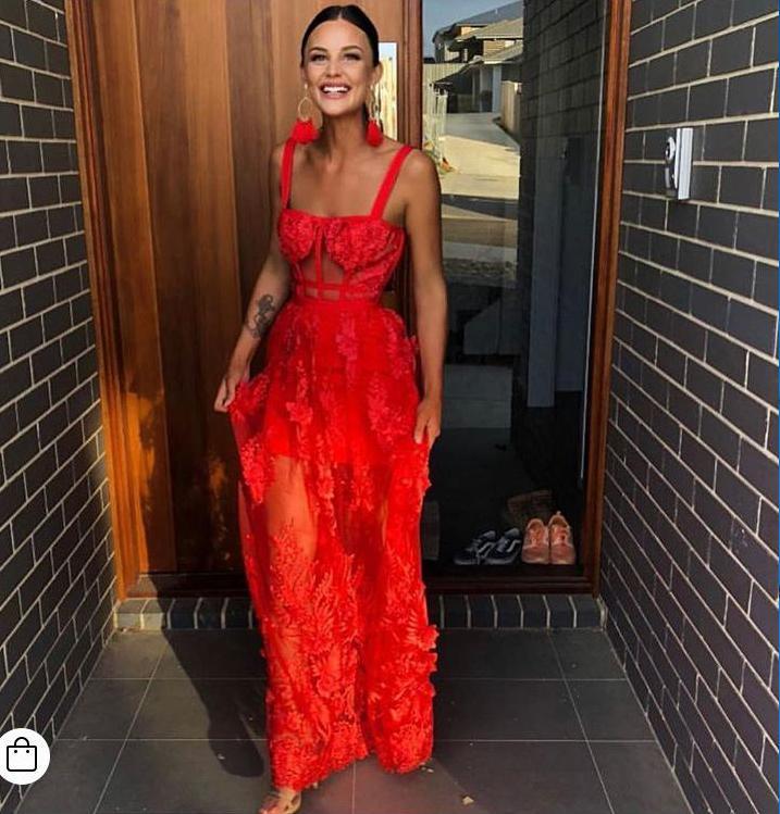 Pizzo Rosso celebrità di alta qualità senza maniche scava fuori lungo rayon vestito dalla fasciatura partito di sera del vestito elegante MX200319