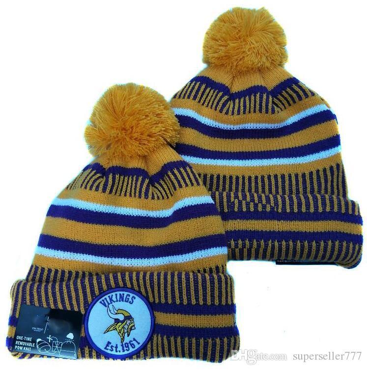 2020 Inverno Minnesota Beanie MIN Skull cappelli lavorati a maglia Script polsino di lana con maniche risvoltate Sideline casa Ufficiale beanies sportiva Cappello di lana Bonnet protezione calda 00