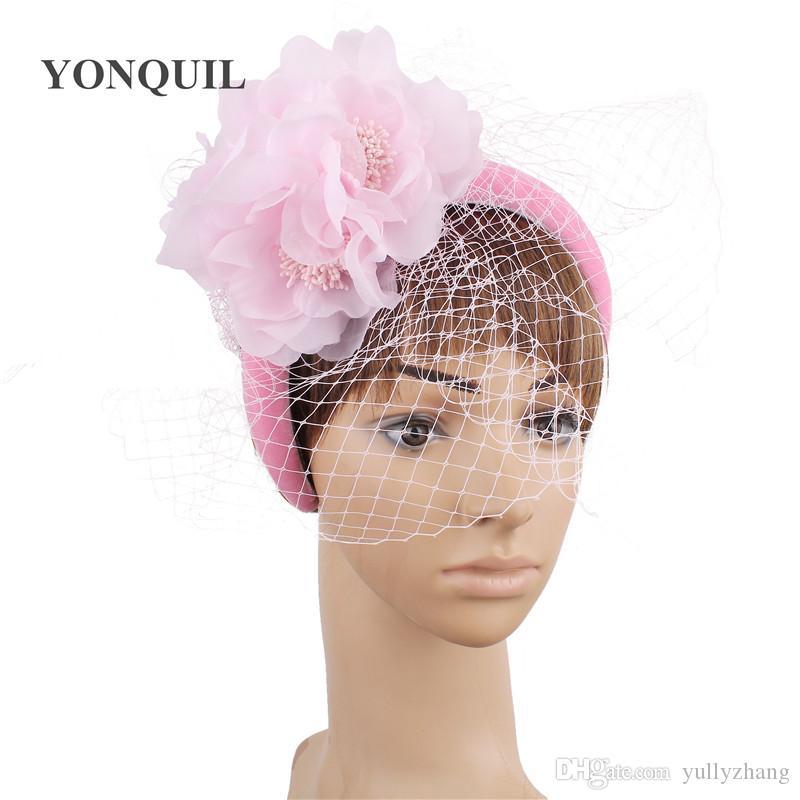 New fashion pink wedding fascinators generous bridal women elegant headwear veils headbands accessories girs party tea flower headdress