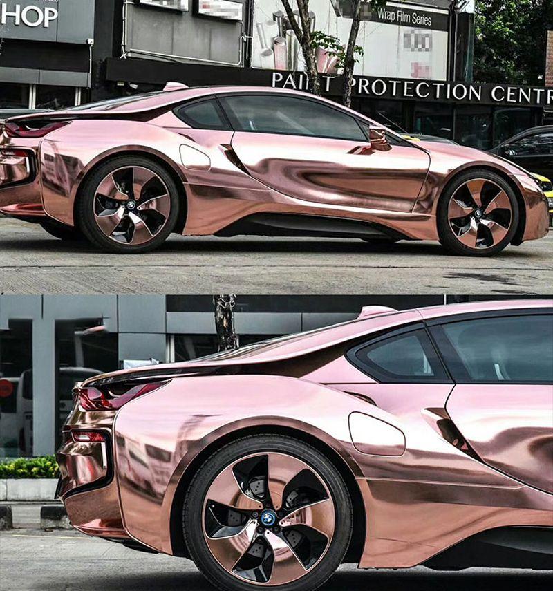 Розовый золотой растягивающийся хромированный автомобиль Wraph винил с воздушным пузырем Бесплатный гибкий автомобиль Автомобильный автомобиль, покрывающая фольга Размер 1,52 * 20 м / рулон