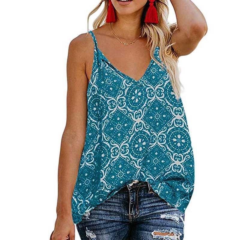Sommer-Damen gedrucktes Sling-T-Shirt Sexy V-Ausschnitt Top Frauen-beiläufiges Art-T-Shirt bequemes Breathable Spitze Hemden