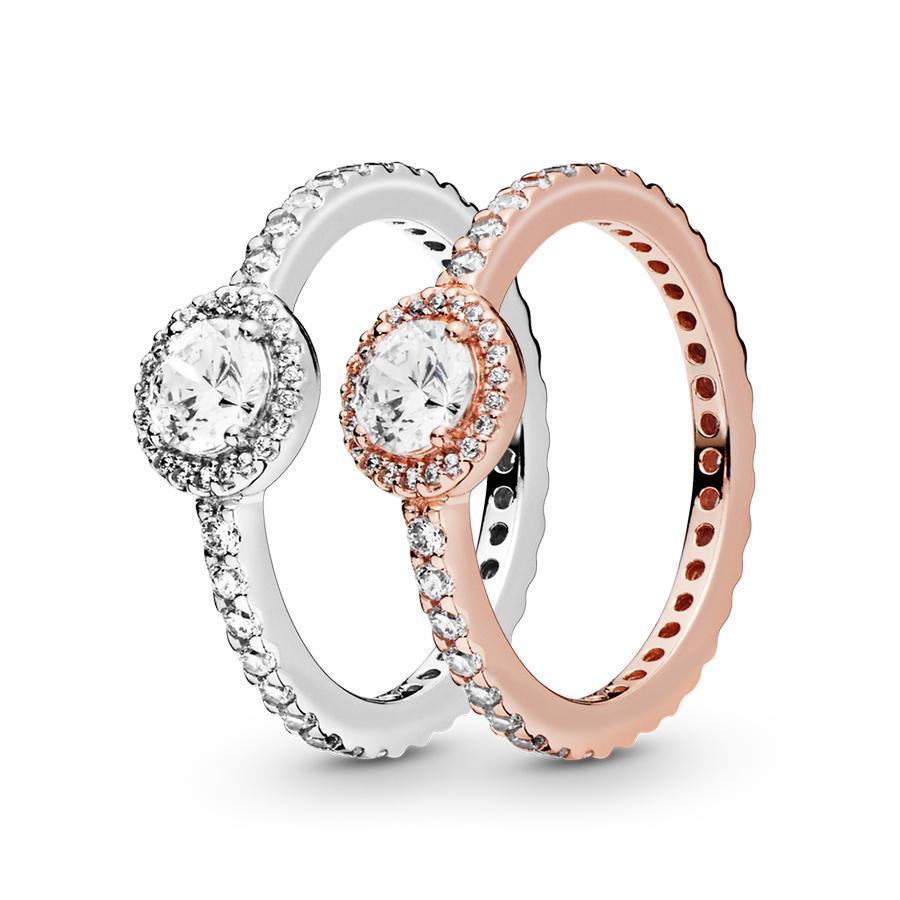 Кольца стерлингового серебра 925 Классический Elegance Искорка Halo Ring Luxury Designer Jewelry Женщины CZ Diamond обручальных с Pandora оригинальной коробке