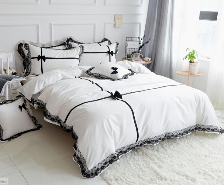 Cotton Princess Pink Bianco Grigio + pizzo nero ragazze casa pizzo di lusso letto di Re Queen Size copripiumino Ruffle set lenzuola Biancheria da letto Kit