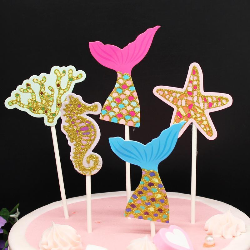 Outstanding 2020 Diy Colorful Shiny Underwater World Starfish Mermaid Cake Ice Personalised Birthday Cards Akebfashionlily Jamesorg