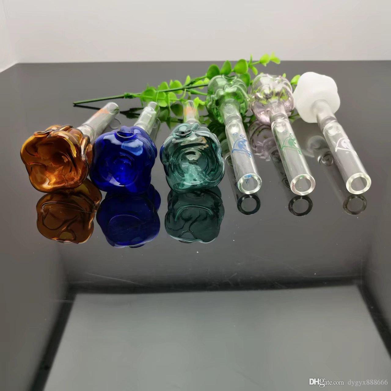 Цветные розы стекла Камин Плита Оптовая Bongs масло горелки Трубы Водопроводные трубы стеклянные трубные нефтяные вышки для курения Бесплатная доставка