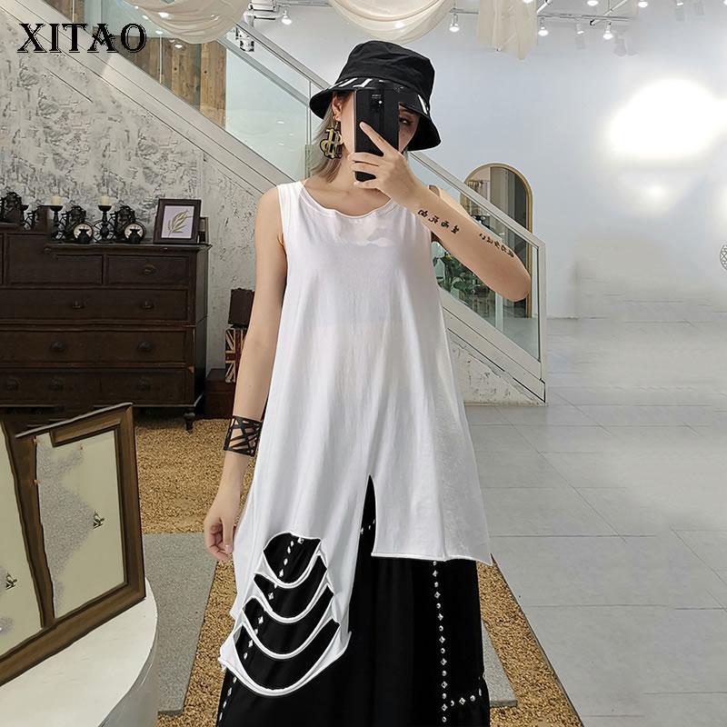 Xitao Tassel donne serbatoi della moda di New scavano fuori irregolare Pullover 2020 Primavera elegante Goddess Fan allentati Serbatoi Top XJ4296