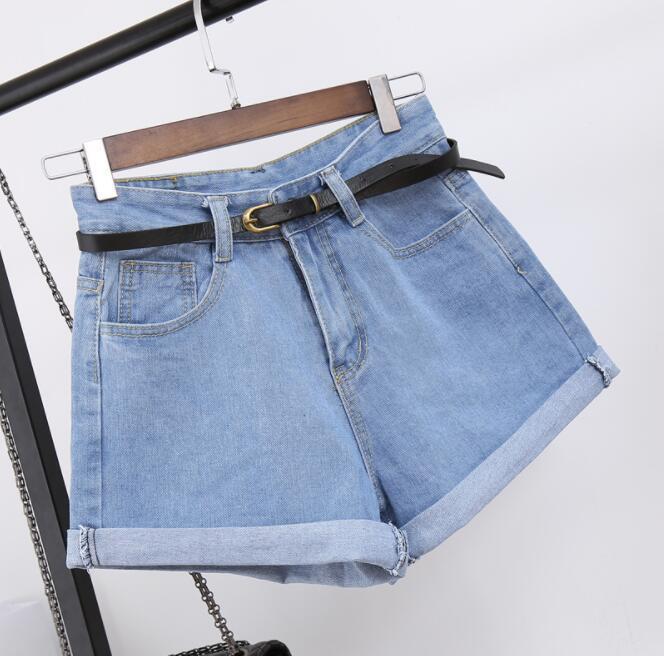 High Waist Denim Shorts Size XL Female Short Jeans for Women 2018 Summer Ladies Hot Shorts solid crimping denim