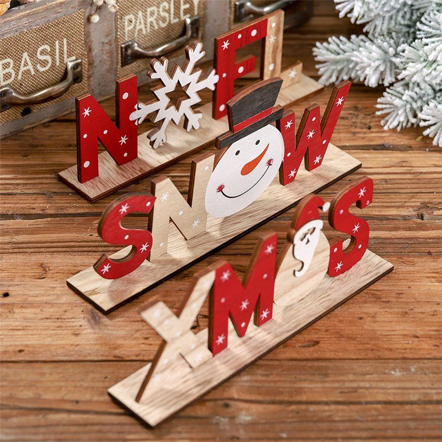 Decoración de Navidad Inicio de madera Carta de Santa Claus los ornamentos de Navidad Inicio del partido de cena de los regalos Decor Navidad Año Nuevo para JK1910