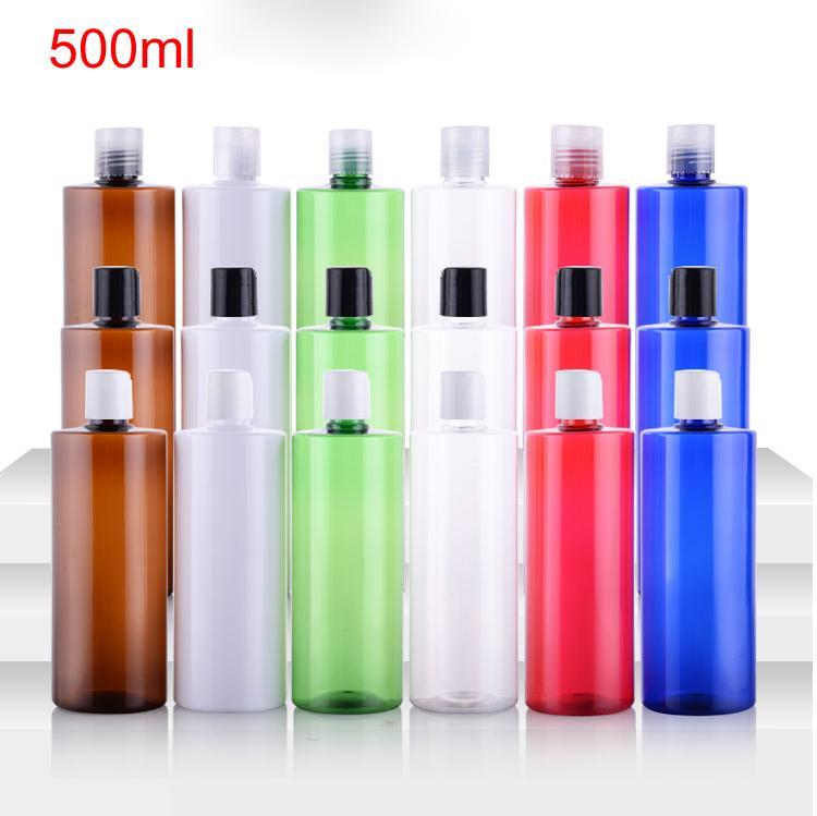 500ml leere weiße kosmetische PET-Flasche mit Scheiben obere Kappe Shampoo Lotion Plastikflasche mit Druckdeckeln, Kosmetikverpackungen