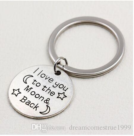 20 قطعة / الوحدة مفتاح الطوق مجوهرات الفضة مطلي أنا أحبك إلى القمر والعودة سحر قلادة الملحقات الرئيسية