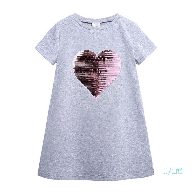 T-shirt pannello esterno del vestito i vestiti del bambino cuore paillettes abiti firmati ragazze abiti delle ragazze di estate dei bambini dei bambini Gonne principessa vestito Boutique CZ515