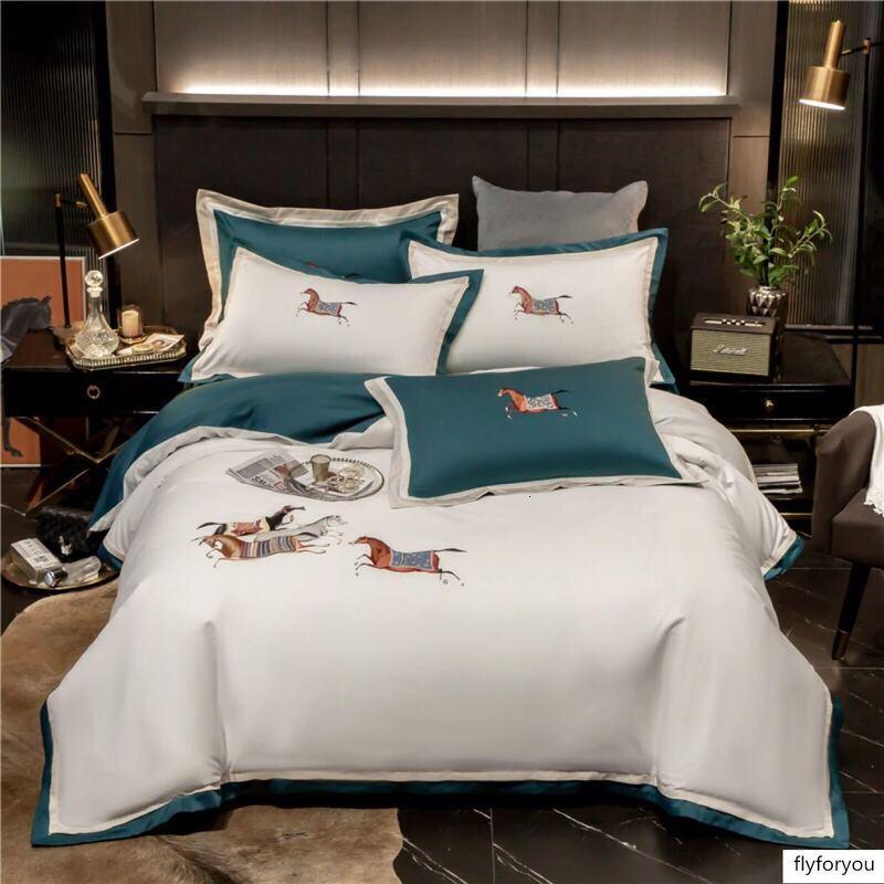 Designer Primavera-Verão novo high-end Europeu americanos estilo 60 cetim de algodão quatro peças de cama requintado bordados costura de luxo