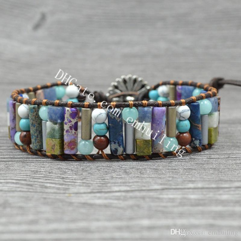 10Pcs Handmade Multicolor Round Turquoise Stone Sea Sediment Jasper Tube Beads Single Wrap Boho Statement Women Leather Bracelet Collection