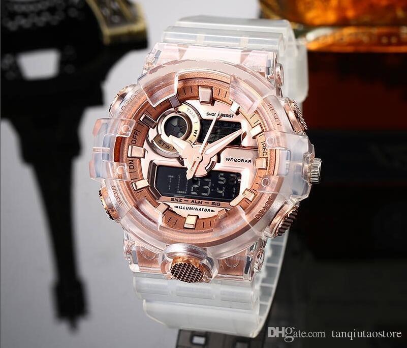 최고 여성 군사 위장 군사 디지털 시계 여자 스타일 패션 스포츠 충격 육군 시계 LED 전자 손목 시계