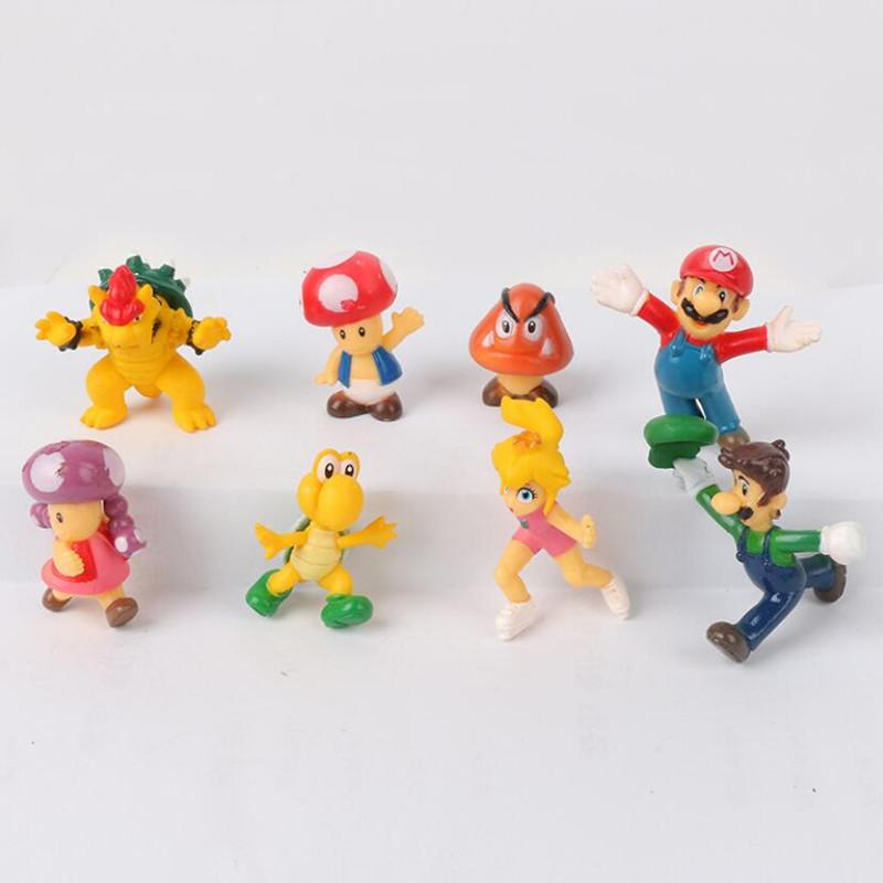 New 8pcs Troopa Toad Luigi Koopa Mini Action Figures Toy with Stand Holder Cake Topper Anime Brinquedos 4-5cm