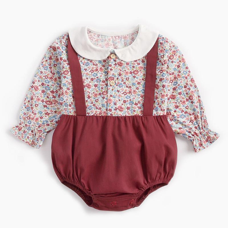 31 stili neonato neonata copre Outfits maniche lunghe Autunno Inverno Fiori del bambino pagliaccetto del cotone tuta Strap l'abbigliamento