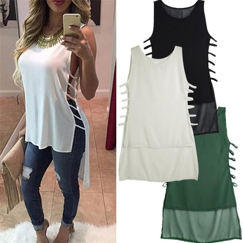 Women's Blouses & Shirts Fashion Summer Women Maxi Shirt Casual Tank Blouse Sleeveless Side Hollow Out Tail Tops Round Neck Loose Blusas