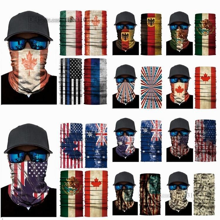 New Headwears US, GB, Kanada Printed magischer Schal Nahtlose Kopftuch Sport Maske Reitmaske Sonnenschutz Schal Magie Schals Partei-Schablonen C0227