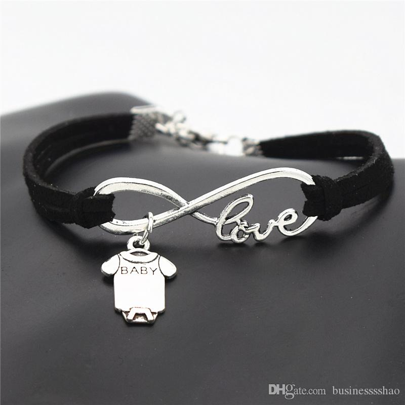 Black Leather And Silver Charm Bracelet 17cm Bracelet for Charms