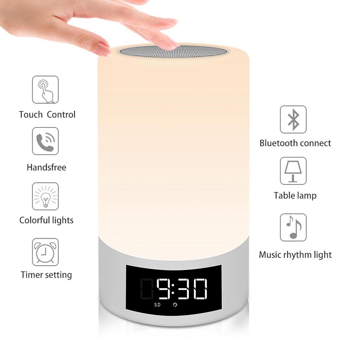 Altavoz del ordenador Altavoz Bluetooth RGB colorido de la música inteligente de luz LED Soporte de audio AUX TF tarjeta FM Radio lámpara de mesa de batería 4000mAh