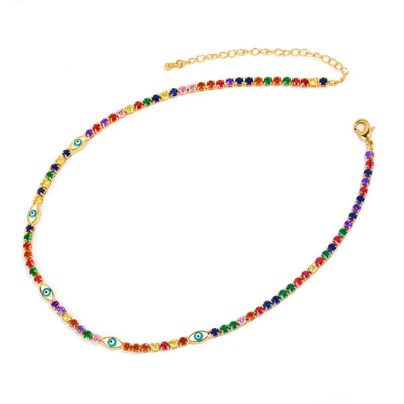 Farbe Kupfer Zircon Halskette europäische und amerikanische einfache Augen weibliche kurze bunte Stein Chokerkette