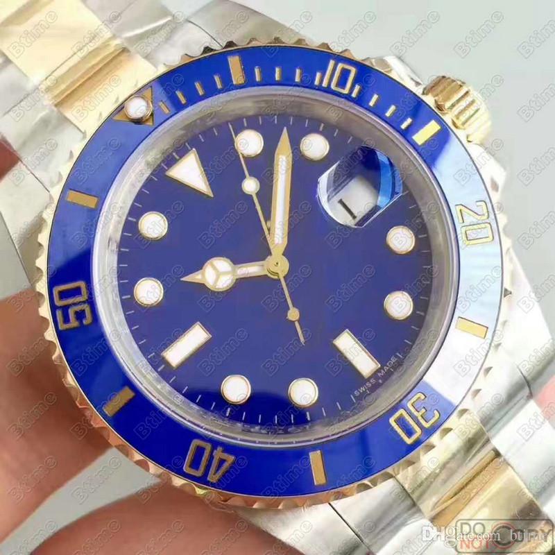 Ceramic Bezel Mens Montres Gold Blue Hommes 2813 Mécanique SS Mouvement automatique Montre Sports Self-Wind Self-Wind Designer de luxe Montres-bracelets