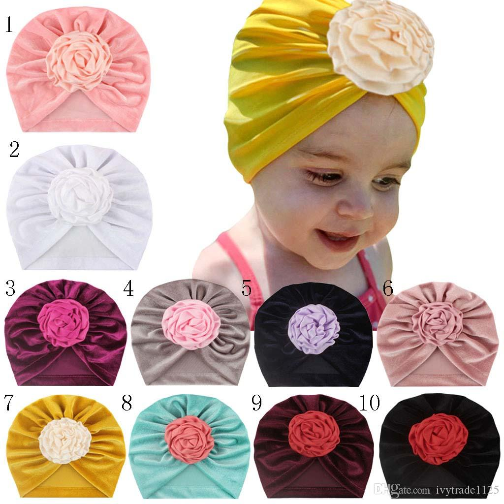 10 Colors Baby Girl Kids Winter Hat Gold Velvet Beanie Crochet With Cute Flower Hat New born Hat Cap Baby, Kids & Maternity