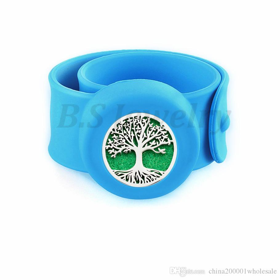 tree of life4 Kids Silcone Adjustable Mosquito Repellent Bangle Essential Oil Diffuser Slap Bracelet With Stainless Steel Diffuser Locket