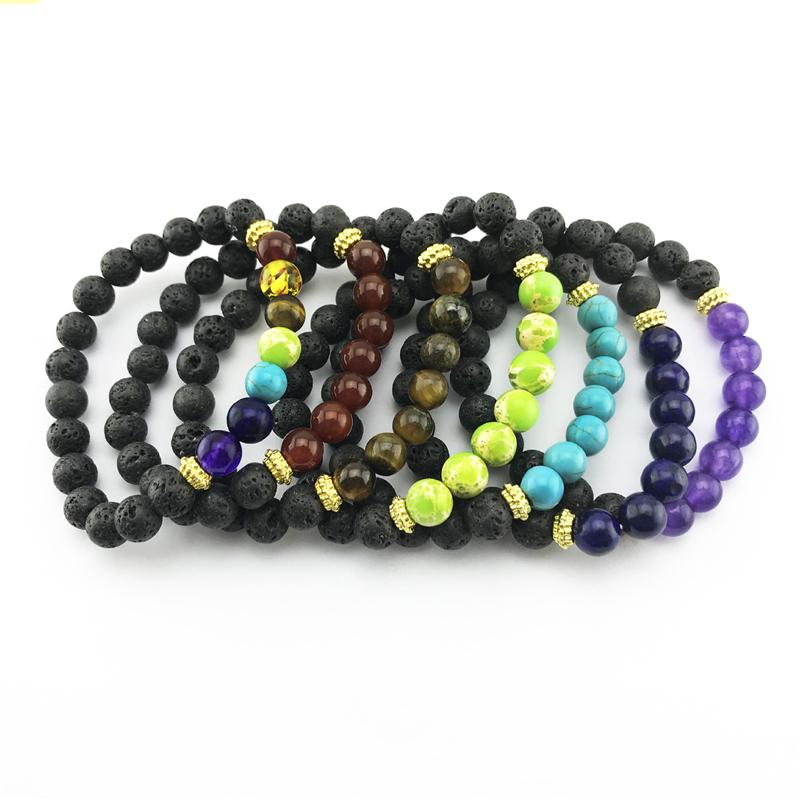 Chakra naturel Pierres Bracelet Noir Volcanique Perles Bracelet Yoga Reiki Prière équilibre Bouddha Bracelets Charms Bijoux fantaisie