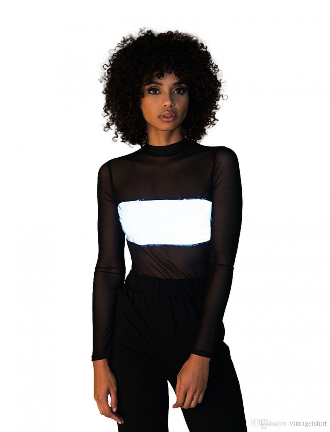 Botón de verano para mujer camisetas reflexivo Moda gasa blusa de mangas larga de los mamelucos atractivo flaco Mujer Ropa nueva llegada
