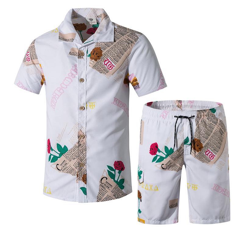2020 New Men Rua Sets Wear exercício dos homens Verão Board Shorts Surf Camisas Masculino Beach Impressão Floral desgaste da natação Shorts 5XL