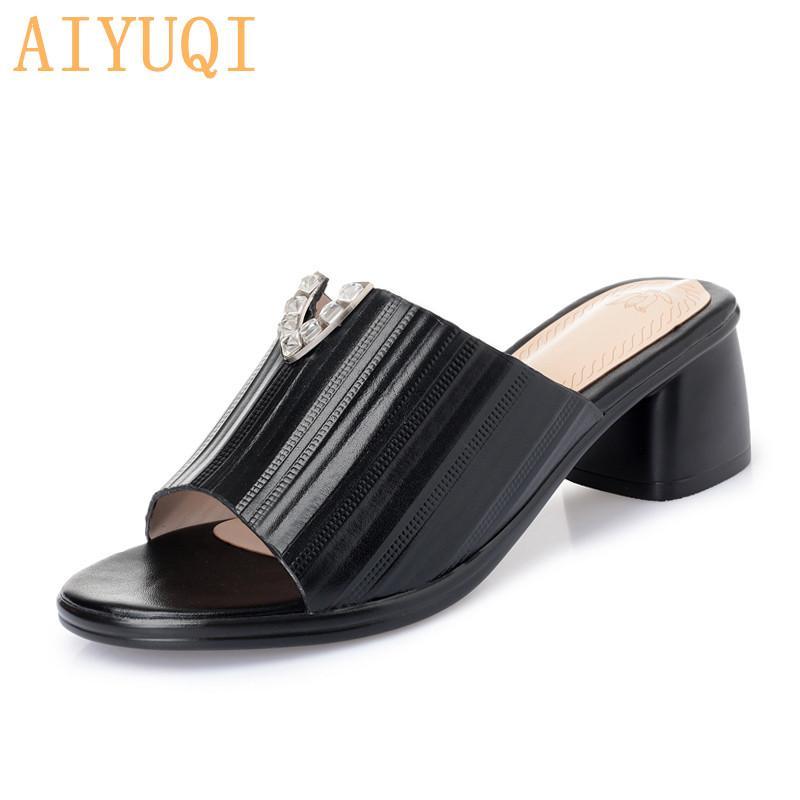 AIYUQI Frauen Pantoffel Sommer 2020 neue Sandalen Frauen echtes Leder große Flip-Flop-Mode-Schuhe für rote Schuhe