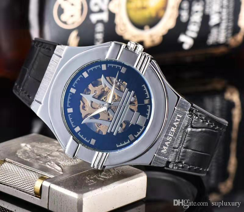 MSI New Hot Uhren Chronograph Quarz-Uhr für Mens-Edelstahl-Armbanduhr Lederarmband Männer Fashion Sportuhren