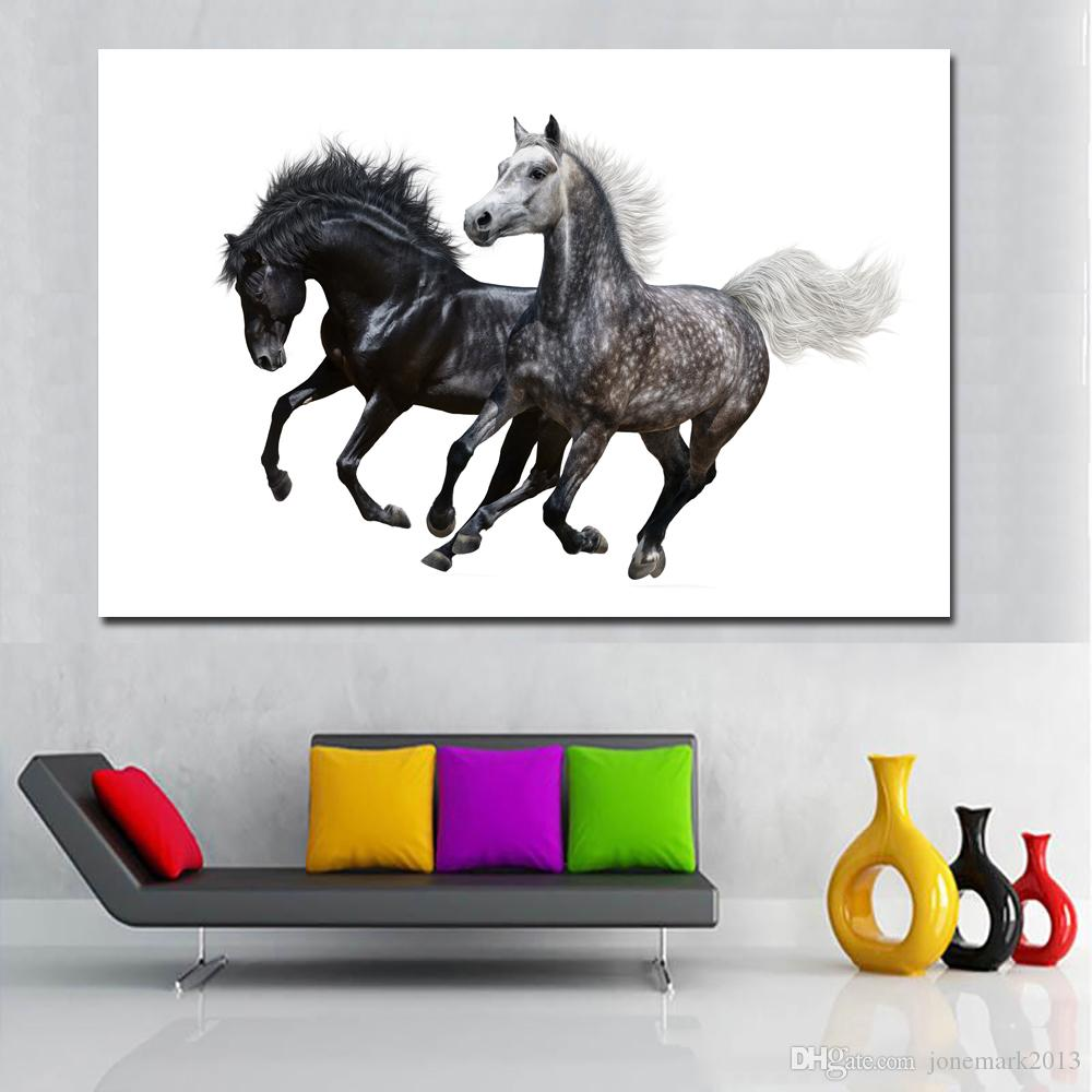 Two Running Horse Animal Oil Painting Wall Art Pictures For Living Room Home