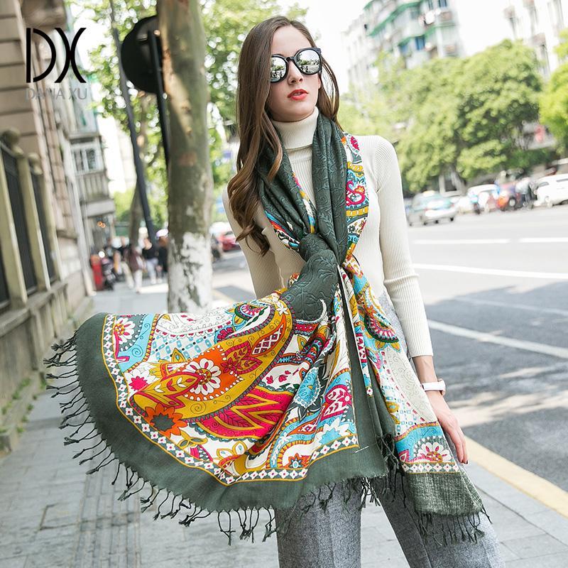 2010 New fashion Winter Scarves Wool Ring Scarf Women Fashion Pure Warm Unisex Neck Woolen Winter Scarf Hijab Bandana Poncho T191213