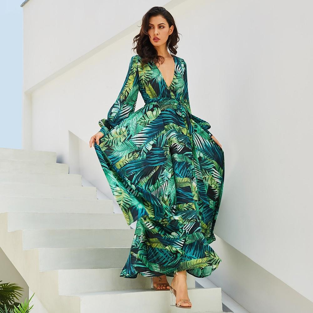Septhydrogen Marka Uzun Kollu Elbise Yeşil Tropical Beach Vintage Maxi Elbiseler Boho Casual V Yaka Kemer Lace Up Tunik dökümlü Artı boyutu Elbise