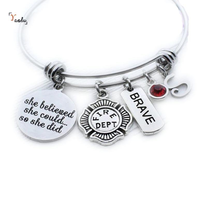 Charme Bombeiro pulseira fogo Mulheres jóia personalizada Bombeiro presente da graduação (mensagem de licença para birthstone)
