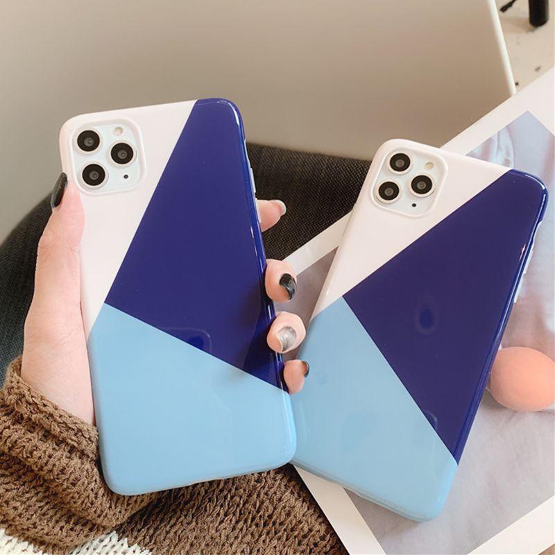 Géométrique Splicing cas de téléphone pour l'iPhone 11 Pro Max XR XS Max 6 7 8 6S Plus X Glossy doux IMD Full Back Cover cadeau Coque