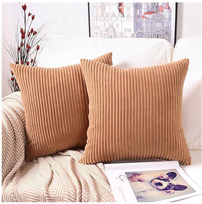 Cilected souple en velours côtelé Housse de coussin décoratif Stripe carré plein Throw Couvre oreiller Taies Sofa Chambre voiture