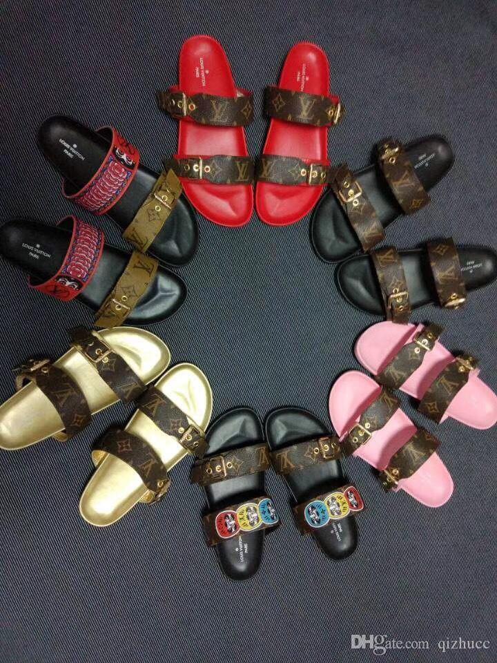مع صندوق شحن مجاني! 2018 ربيع وصيف الصنادل المرأة مصمم الأزياء أحذية الرجال جلد طبيعي مع مربع