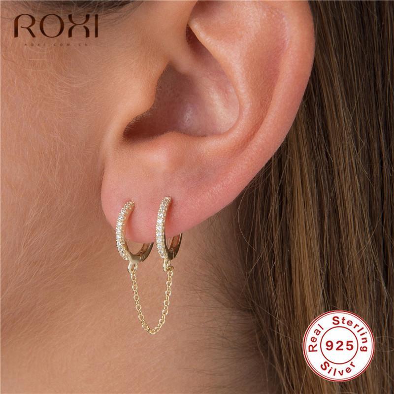 ROXI coreano prata esterlina 925 Dangle Earring Tassel Retro Longa Brincos para Mulheres Duplo piercing brincos moda jóias