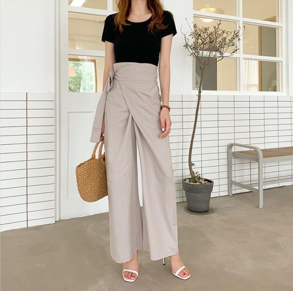Nueva irregular Pantalones de mujeres de cintura alta flojo ocasional otoño pierna ancha Calzoncillos ropa de moda