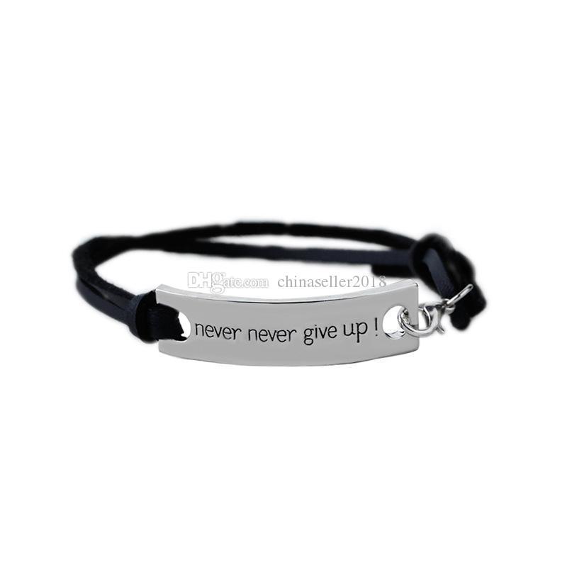 Never never give up Velvet Rope bracelet Inspirational word Letter Charm wrap Bangle For women & Men s Fashion friendship Jewelry Gift