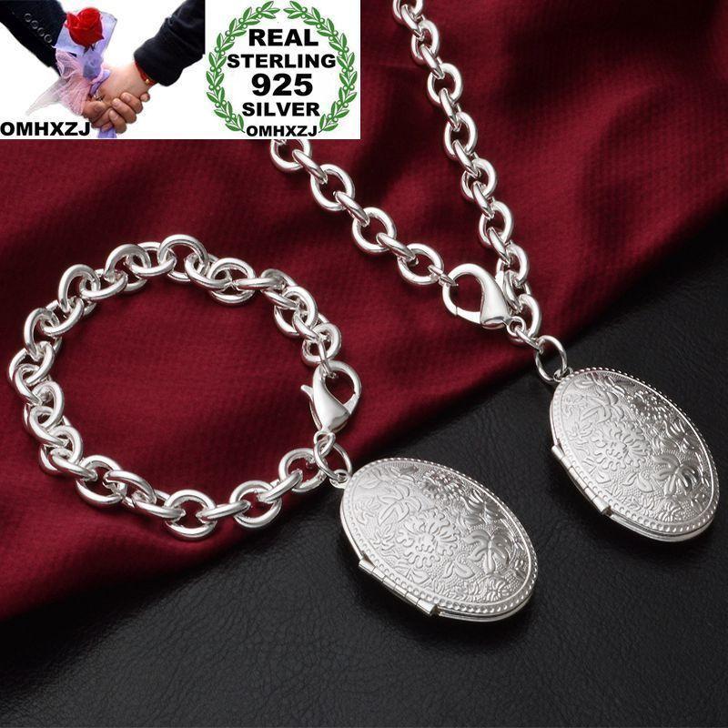 Omhxzj بالجملة شخصية أزياء المرأة هدية مربع صورة الدوائر الدوائر 925 فضة سوار + قلادة مجموعة مجوهرات SE55
