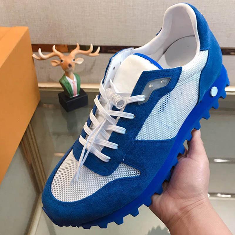 최신 도착 패션 럭셔리 망 신발 메쉬 거즈 스웨이드 솔 서클 꽃 디자이너 신발 크기 38-44 모델 395559548