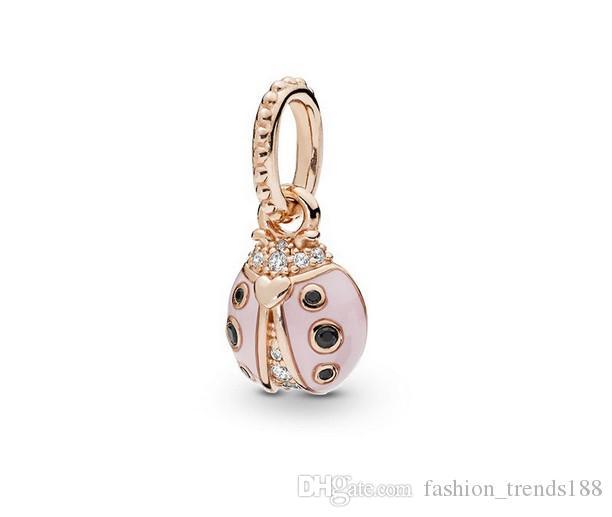 Wholesale 20pc Silver Bead Charm Ladybug Enamel Dangle Charms Pendant Fit Women Pandora Bracelets Snake Chain Necklace & Bangles DIY Jewelry