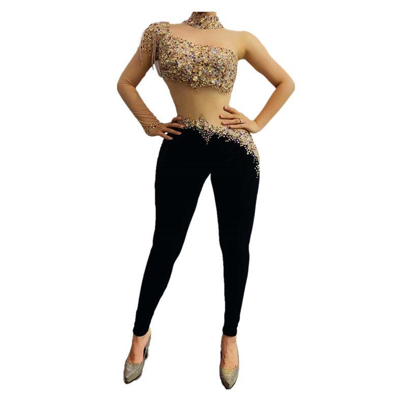 Sexy Rhinestones Bodysuit Dance Costume Fringe Transparent Jumpsuit Black Velvet Leggings Dance Outfit Bar Singer Wear Outfit