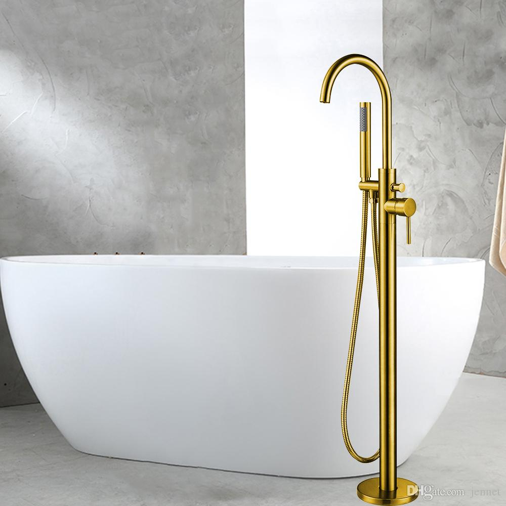 Bathtub Faucet Golden Finish Floor Mounted Single Handle Bathtub Faucet Floor Stand Faucet Mixer Tap Hand Shower Faucets